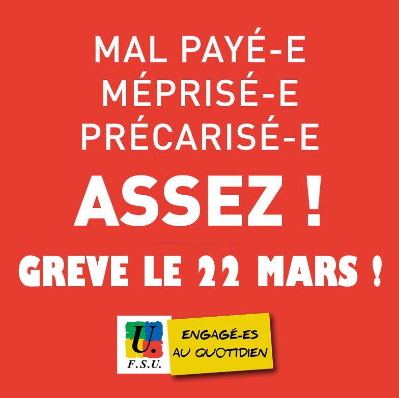 8723a8e1a0d 22 mars   Grève et mobilisations dans la Fonction publique pour gagner la  reconnaissance de notre travail !