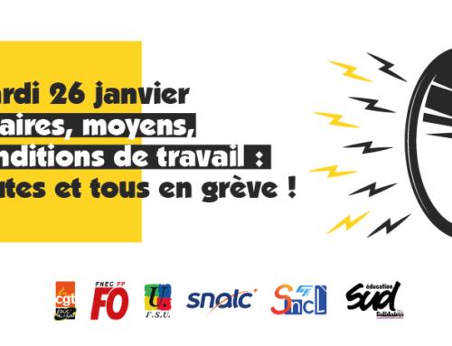 Toutes et tous en grève dans l' Education mardi 26 janvier !
